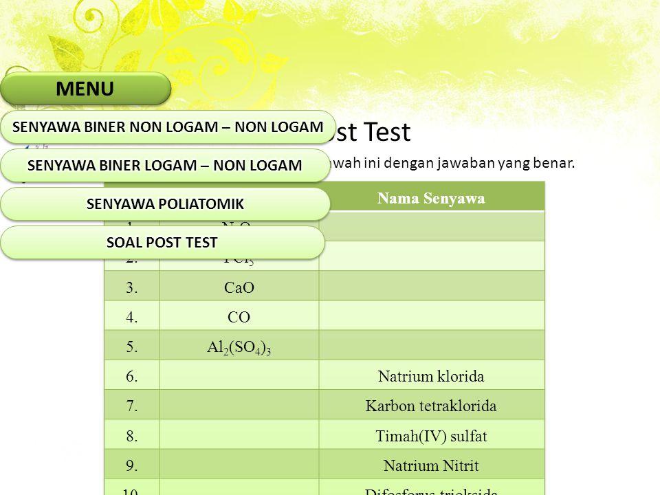 Soal Post Test Isilah kolom yang masih kosong di bawah ini dengan jawaban yang benar. MENU