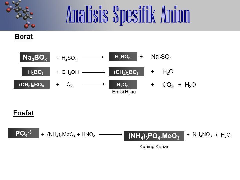 Analisis Spesifik Anion Borat Na 3 BO 3 H 3 BO 3 + Na + Na 2 SO 4 + H 2 SO 4 Fosfat PO 4 -3 H 3 BO 3 + CH 3 OH(CH 3 ) 3 BO 3 + H + H 2 O (CH 3 ) 3 BO 3 + O 2 B2O3B2O3 + CO 2 + H + CO 2 + H 2 O Emisi Hijau + (NH 4 ) 2 MoO 4 + HNO 3 (NH 4 ) 3 PO 4.MoO 3 + NH 4 NO 3 + H 2 O Kuning Kenari
