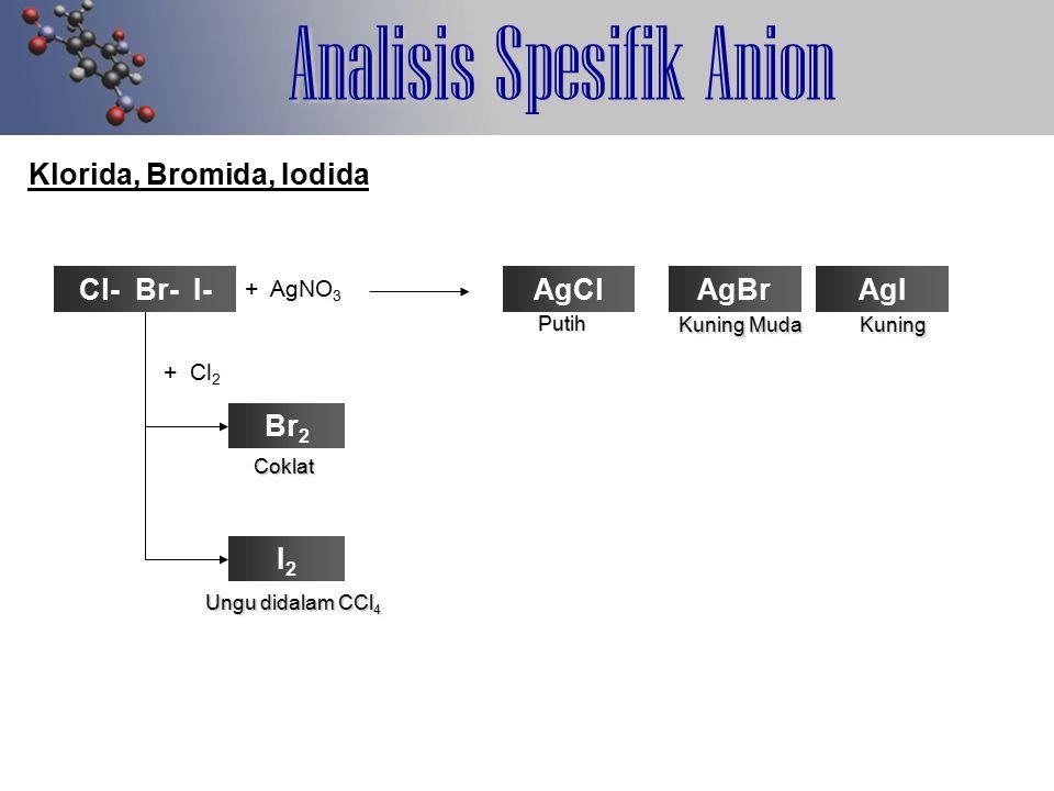 Analisis Spesifik Anion Klorida, Bromida, Iodida Cl- Br- I- + AgNO 3 AgClAgBrAgI Putih Kuning Muda Kuning + Cl 2 Br 2 I2I2 Coklat Ungu didalam CCl 4