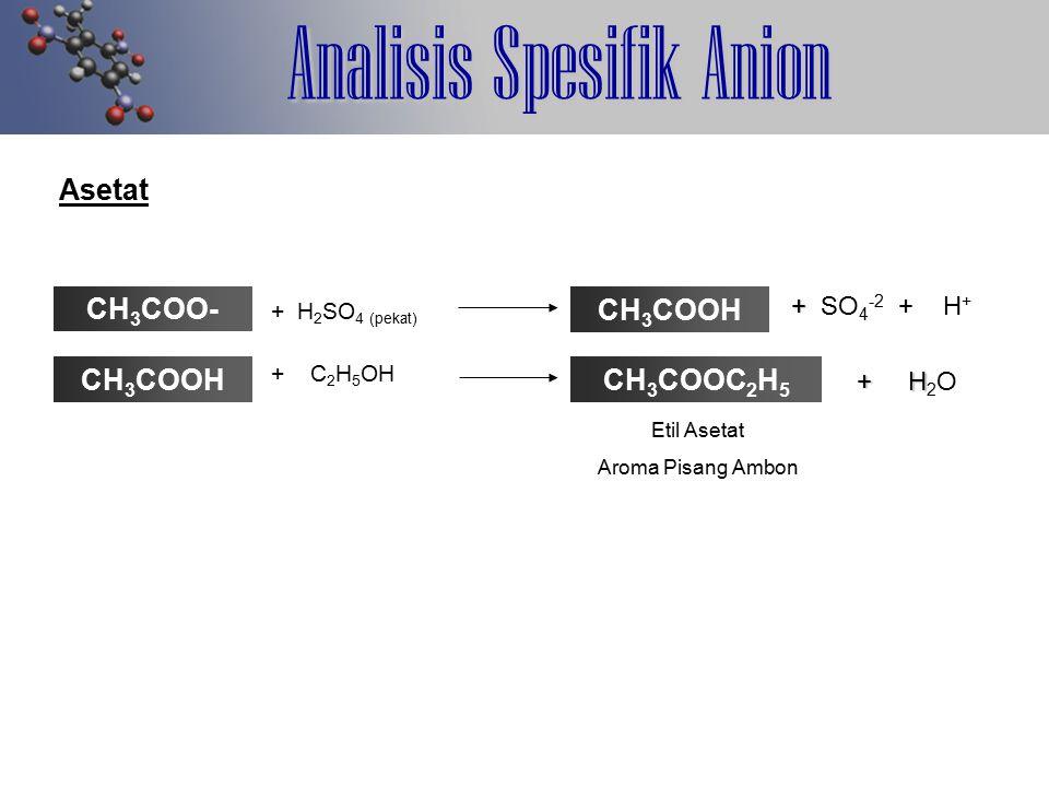 Analisis Spesifik Anion Asetat CH 3 COO- + + SO 4 -2 + H + + H 2 SO 4 (pekat) + C 2 H 5 OH + H + H 2 O Etil Asetat Aroma Pisang Ambon CH 3 COOH CH 3 C