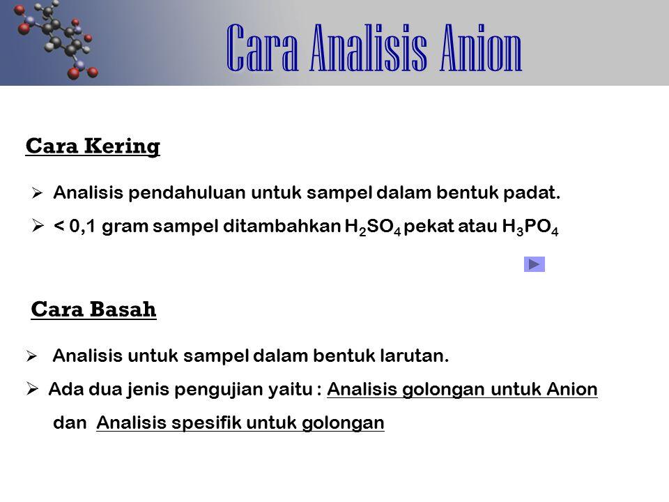 Cara Analisis Anion Cara Kering   Analisis pendahuluan untuk sampel dalam bentuk padat.   < 0,1 gram sampel ditambahkan H 2 SO 4 pekat atau H 3 PO