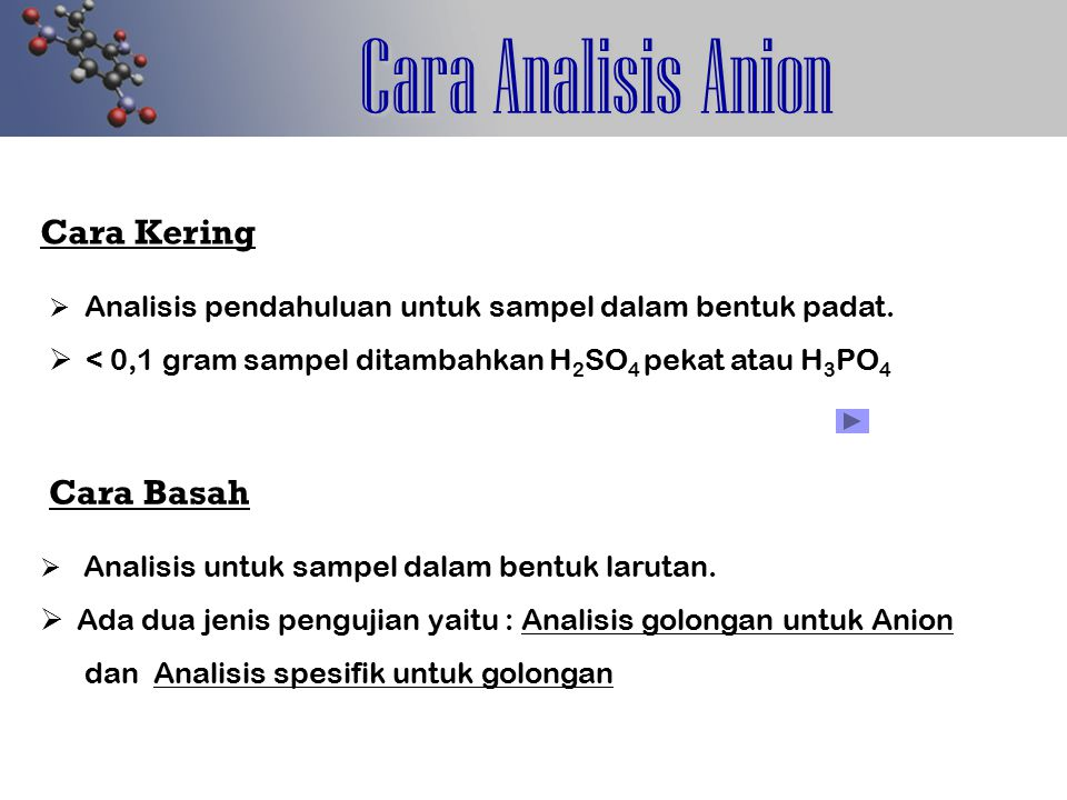 Analisis Spesifik Anion Asetat CH 3 COO- + + SO 4 -2 + H + + H 2 SO 4 (pekat) + C 2 H 5 OH + H + H 2 O Etil Asetat Aroma Pisang Ambon CH 3 COOH CH 3 COOC 2 H 5