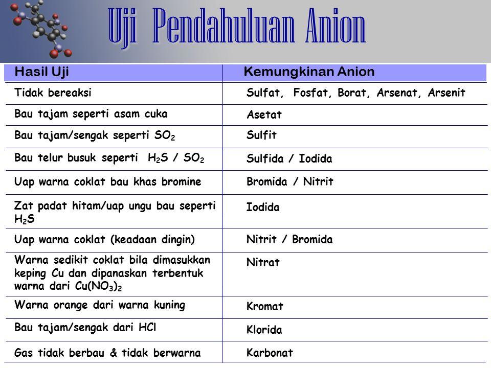 Analisis Golongan Anion Sampel NH 4 OHBasa + BaCl 2 Anion Golongan I Lama mengendap : Ba 3 (BO 3 ) 2 + HCl Asam Semua endapan larut ¥ SO 4 Endapan sebagian larut = SO 4 Anion Golongan II & III + HNO 3 encer panaskan + AgNO 3 Anion Golongan II Anion Golongan III