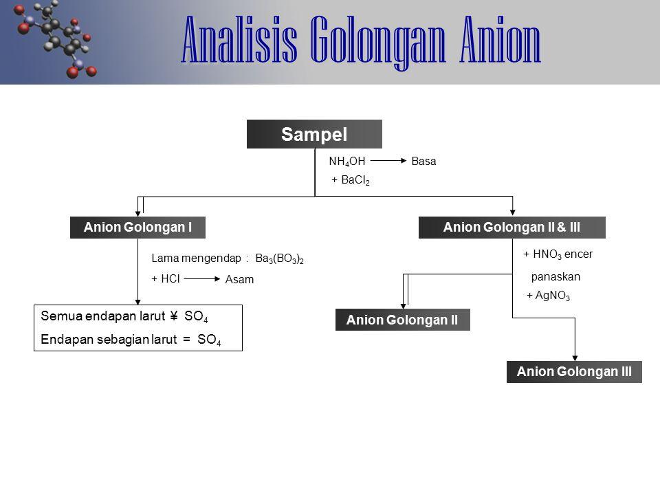 Analisis Golongan Anion Sampel NH 4 OHBasa + BaCl 2 Anion Golongan I Lama mengendap : Ba 3 (BO 3 ) 2 + HCl Asam Semua endapan larut ¥ SO 4 Endapan seb