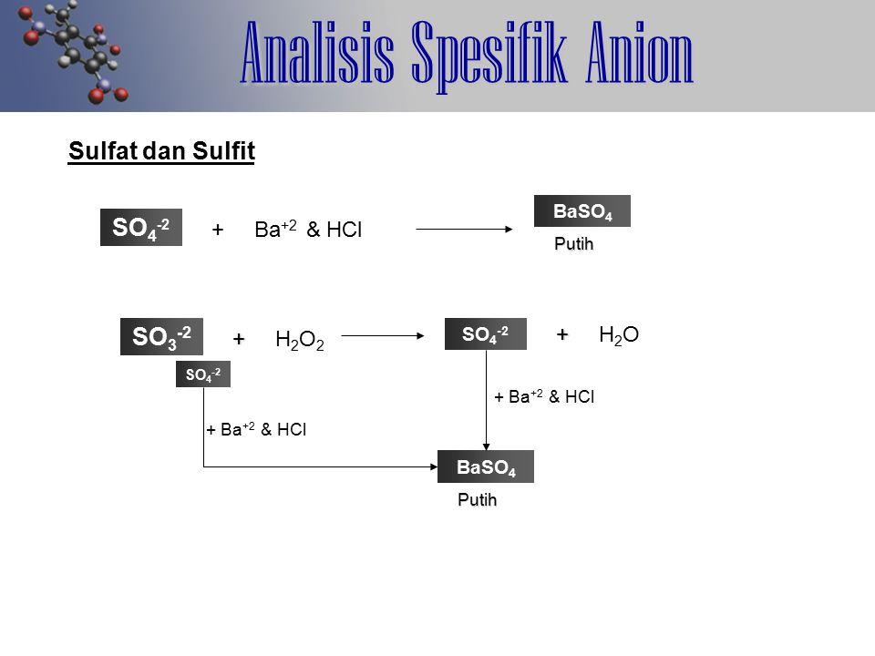 Analisis Spesifik Anion Sulfat dan Sulfit SO 4 -2 + Ba +2 & HCl BaSO 4 Putih SO 3 -2 + + H 2 O 2 SO 4 -2 + + H 2 O + Ba +2 & HCl BaSO 4 Putih SO 4 -2 + Ba +2 & HCl