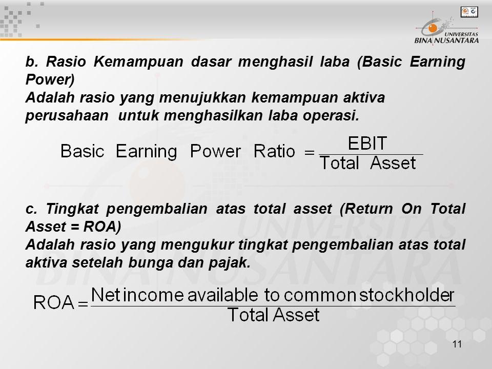 12 d.Pengembalian atas ekuitas saham biasa (Return on Common Equity = ROE).