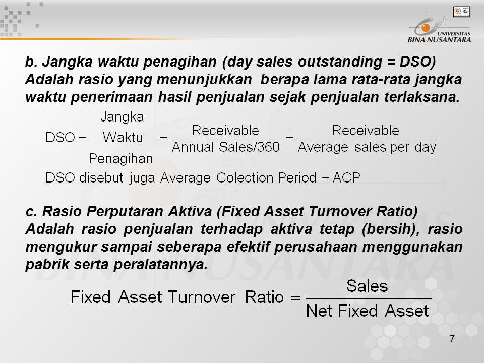 8 d.Rasio Perputaran Total Aktiva (Total Asset Turnover Ratio).