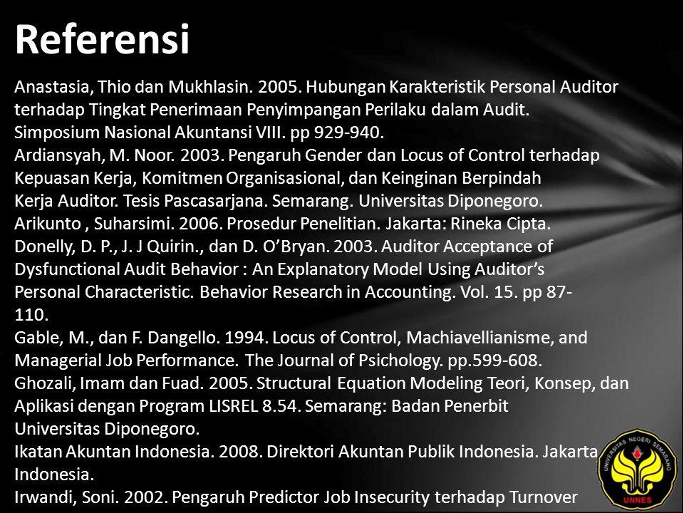Referensi Anastasia, Thio dan Mukhlasin. 2005.