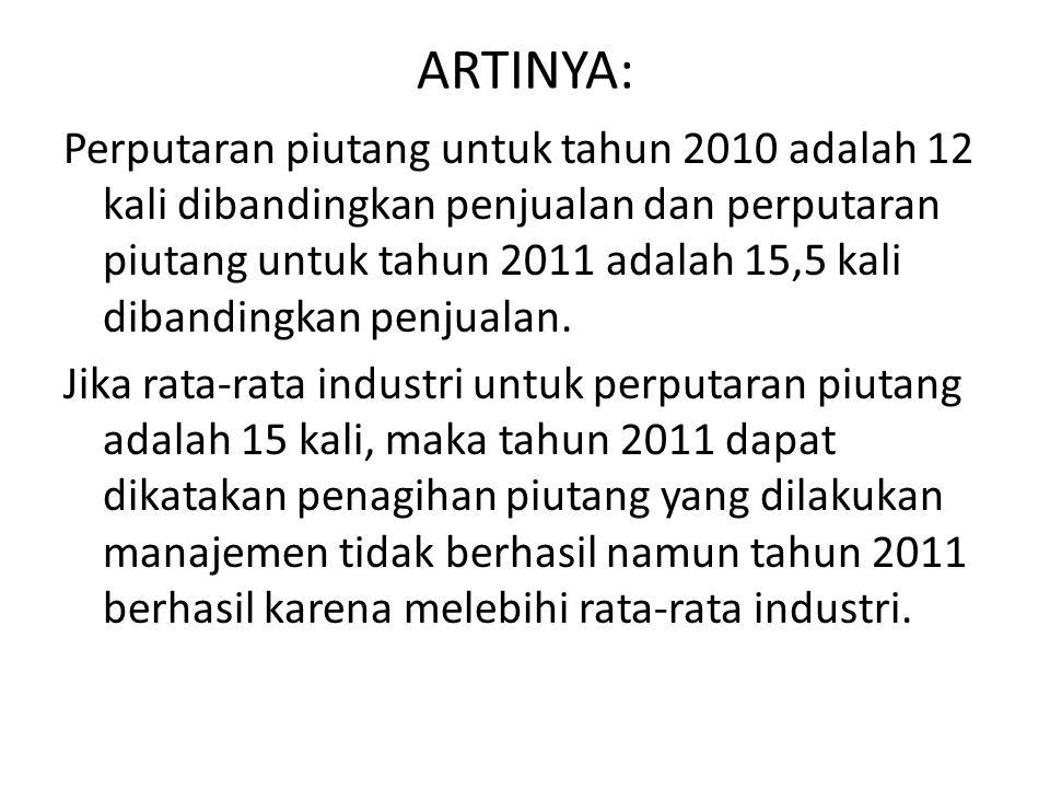 ARTINYA: Perputaran piutang untuk tahun 2010 adalah 12 kali dibandingkan penjualan dan perputaran piutang untuk tahun 2011 adalah 15,5 kali dibandingk