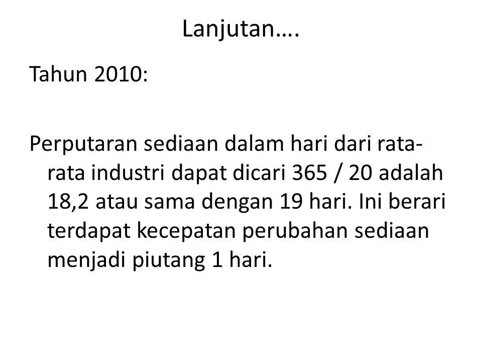 Lanjutan…. Tahun 2010: Perputaran sediaan dalam hari dari rata- rata industri dapat dicari 365 / 20 adalah 18,2 atau sama dengan 19 hari. Ini berari t