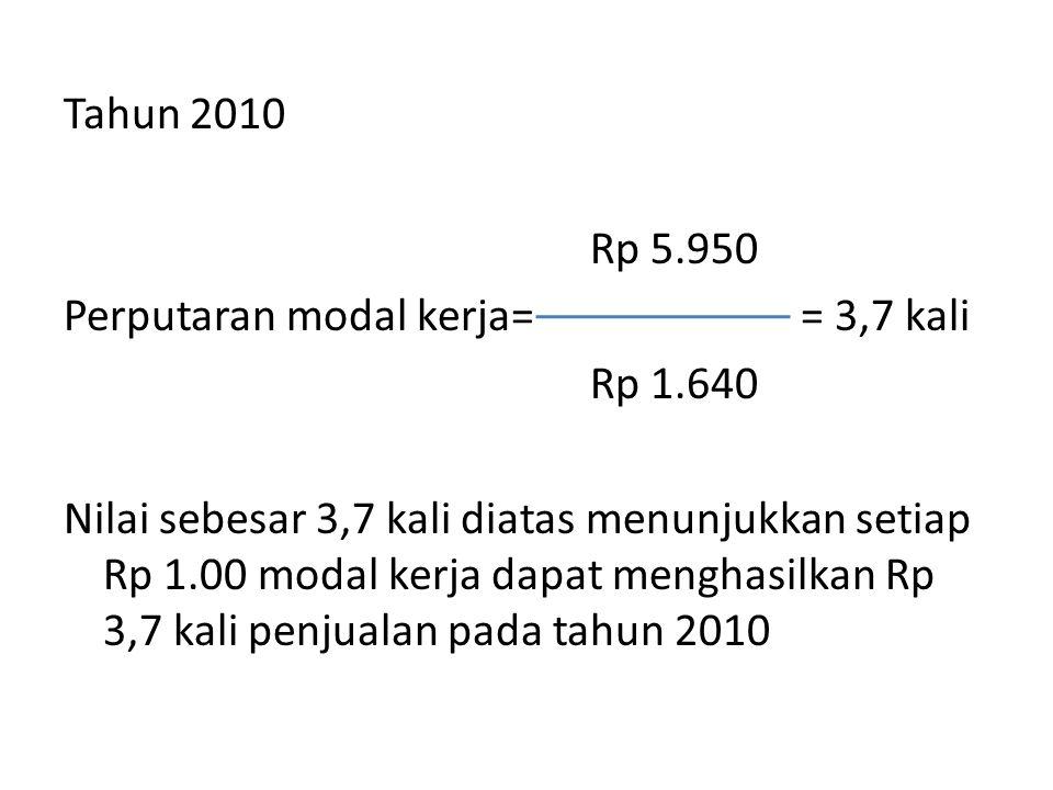 Tahun 2010 Rp 5.950 Perputaran modal kerja== 3,7 kali Rp 1.640 Nilai sebesar 3,7 kali diatas menunjukkan setiap Rp 1.00 modal kerja dapat menghasilkan