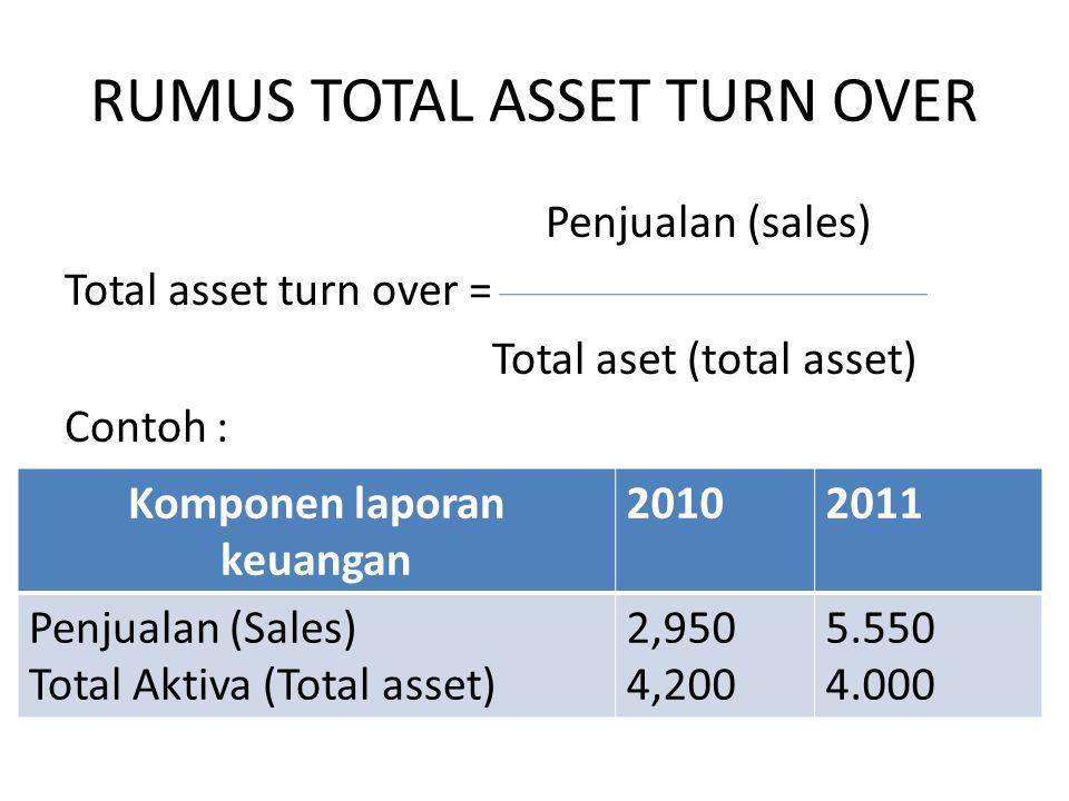 RUMUS TOTAL ASSET TURN OVER Penjualan (sales) Total asset turn over = Total aset (total asset) Contoh : Komponen laporan keuangan 20102011 Penjualan (