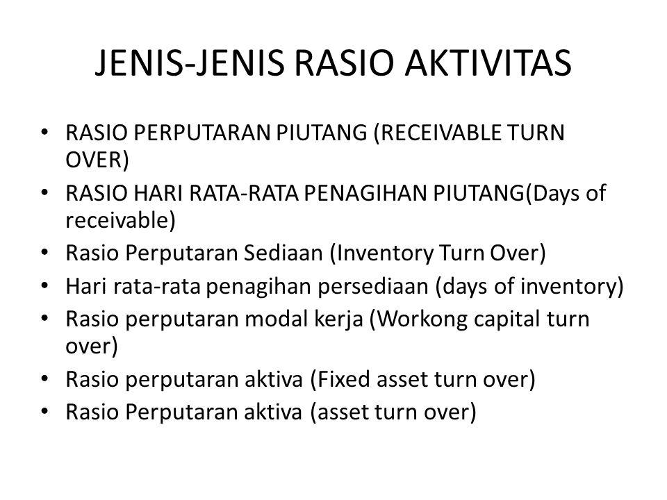 JENIS-JENIS RASIO AKTIVITAS RASIO PERPUTARAN PIUTANG (RECEIVABLE TURN OVER) RASIO HARI RATA-RATA PENAGIHAN PIUTANG(Days of receivable) Rasio Perputara