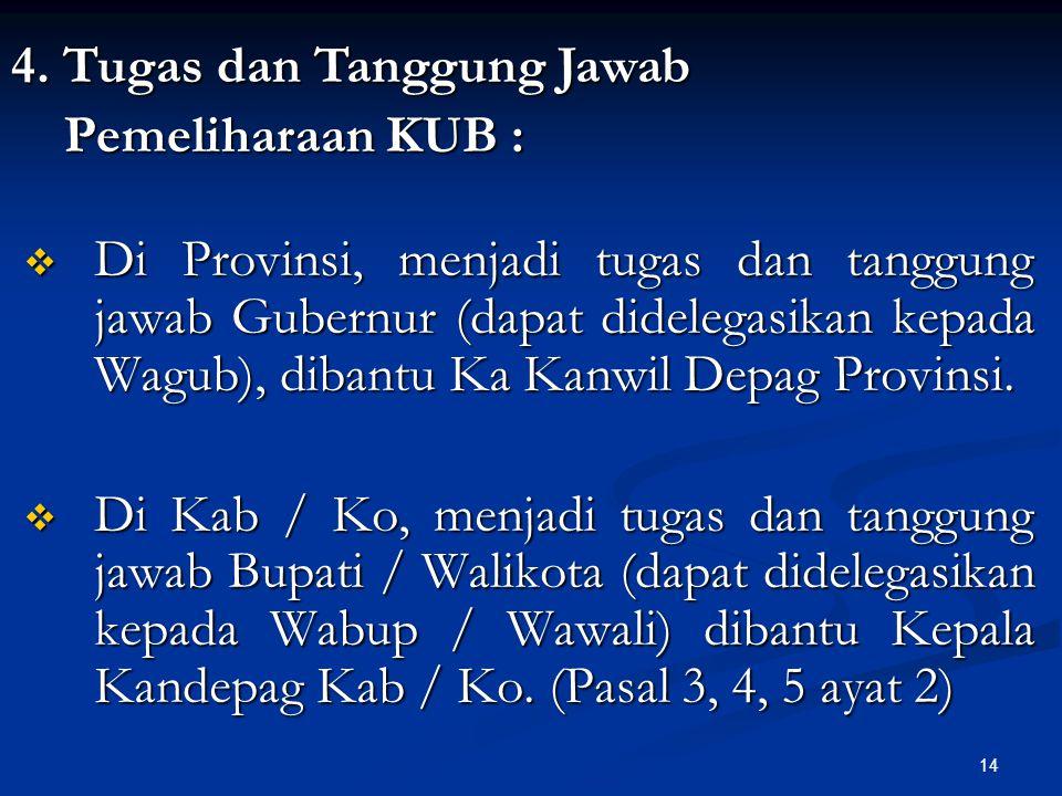 14  Di Provinsi, menjadi tugas dan tanggung jawab Gubernur (dapat didelegasikan kepada Wagub), dibantu Ka Kanwil Depag Provinsi.  Di Kab / Ko, menja