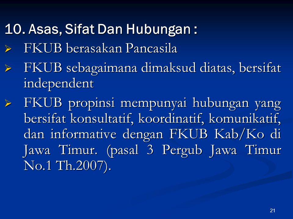21 10. Asas, Sifat Dan Hubungan :  FKUB berasakan Pancasila  FKUB sebagaimana dimaksud diatas, bersifat independent  FKUB propinsi mempunyai hubung