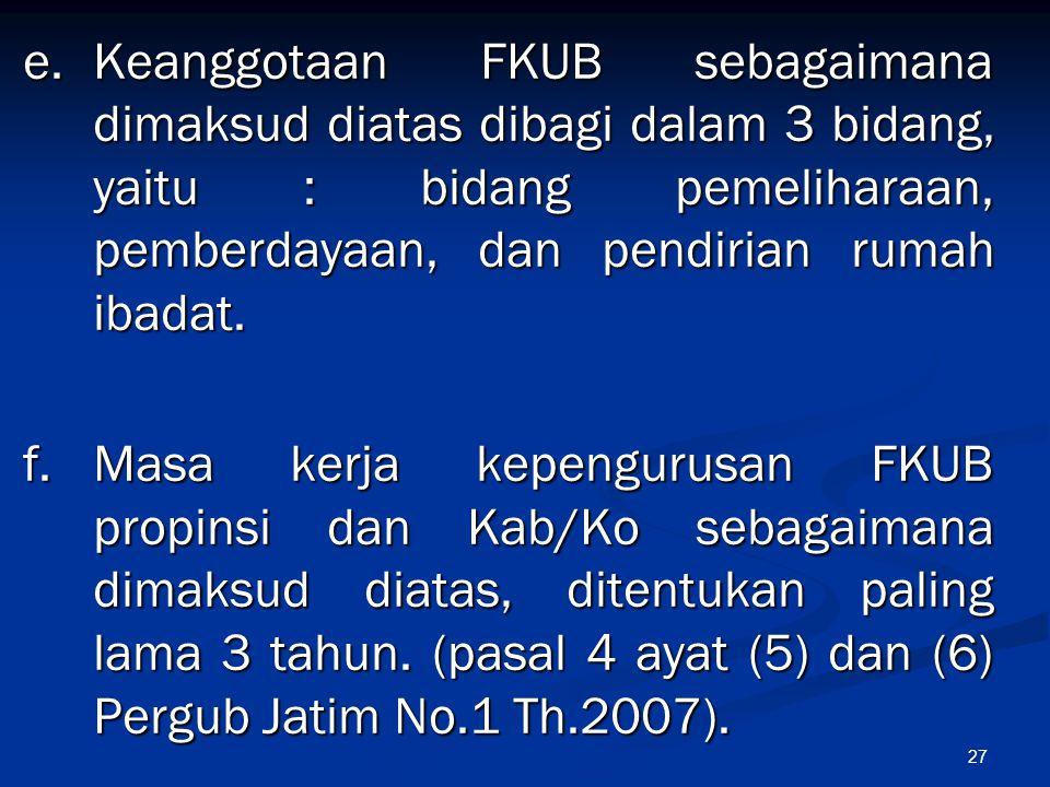 27 e.Keanggotaan FKUB sebagaimana dimaksud diatas dibagi dalam 3 bidang, yaitu : bidang pemeliharaan, pemberdayaan, dan pendirian rumah ibadat. f. Mas