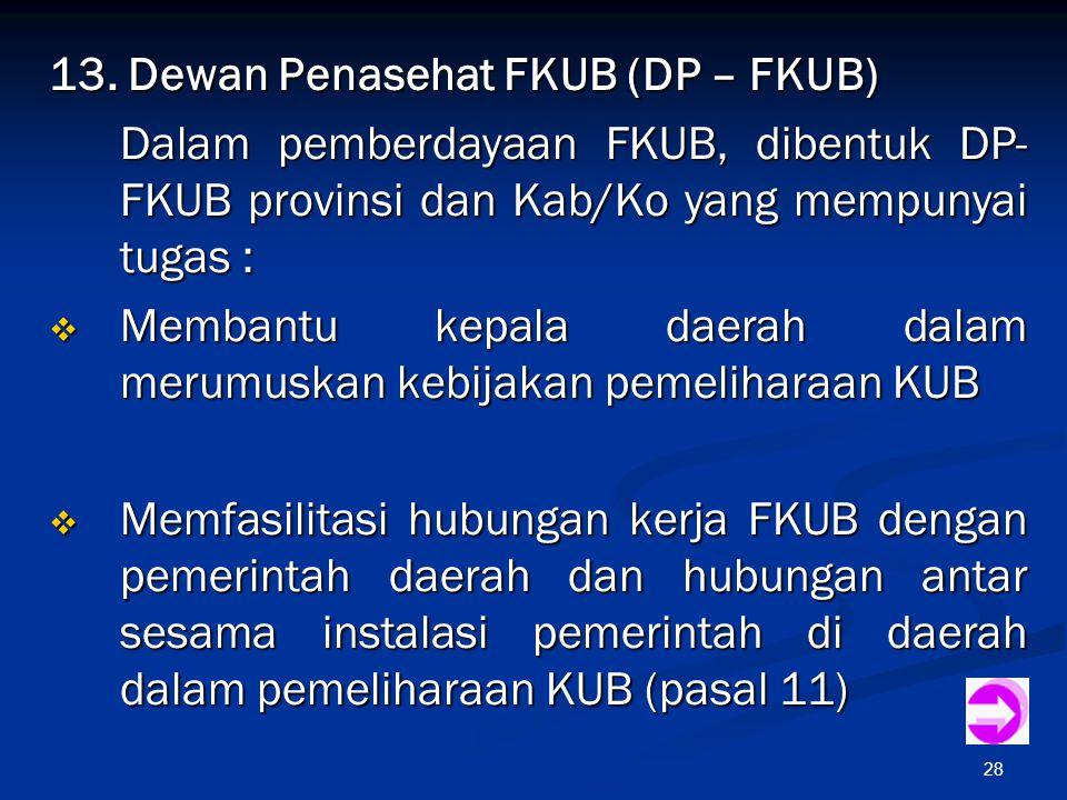 28 13. Dewan Penasehat FKUB (DP – FKUB) Dalam pemberdayaan FKUB, dibentuk DP- FKUB provinsi dan Kab/Ko yang mempunyai tugas :  Membantu kepala daerah