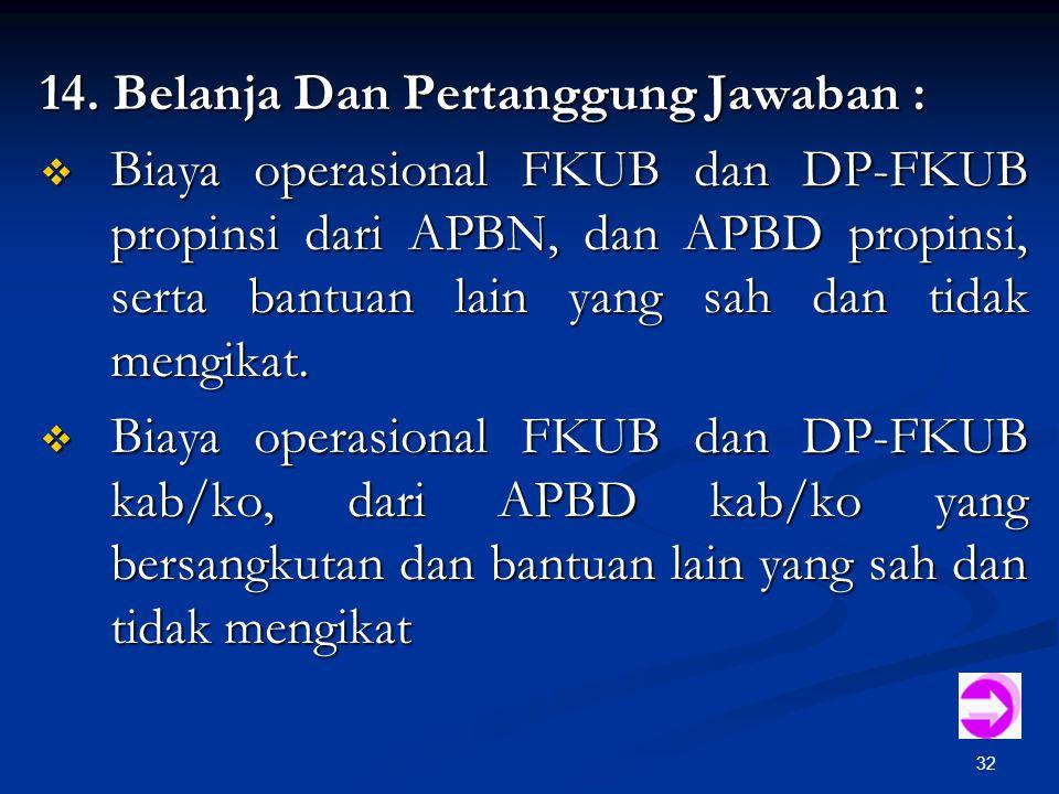 32 14. Belanja Dan Pertanggung Jawaban :  Biaya operasional FKUB dan DP-FKUB propinsi dari APBN, dan APBD propinsi, serta bantuan lain yang sah dan t