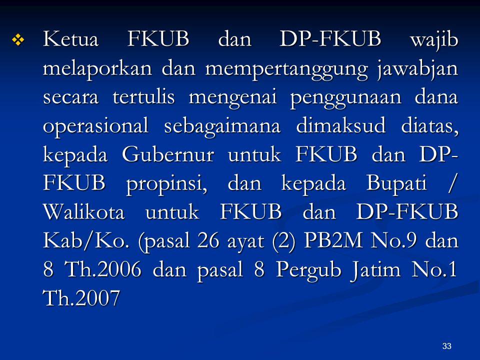 33  Ketua FKUB dan DP-FKUB wajib melaporkan dan mempertanggung jawabjan secara tertulis mengenai penggunaan dana operasional sebagaimana dimaksud dia