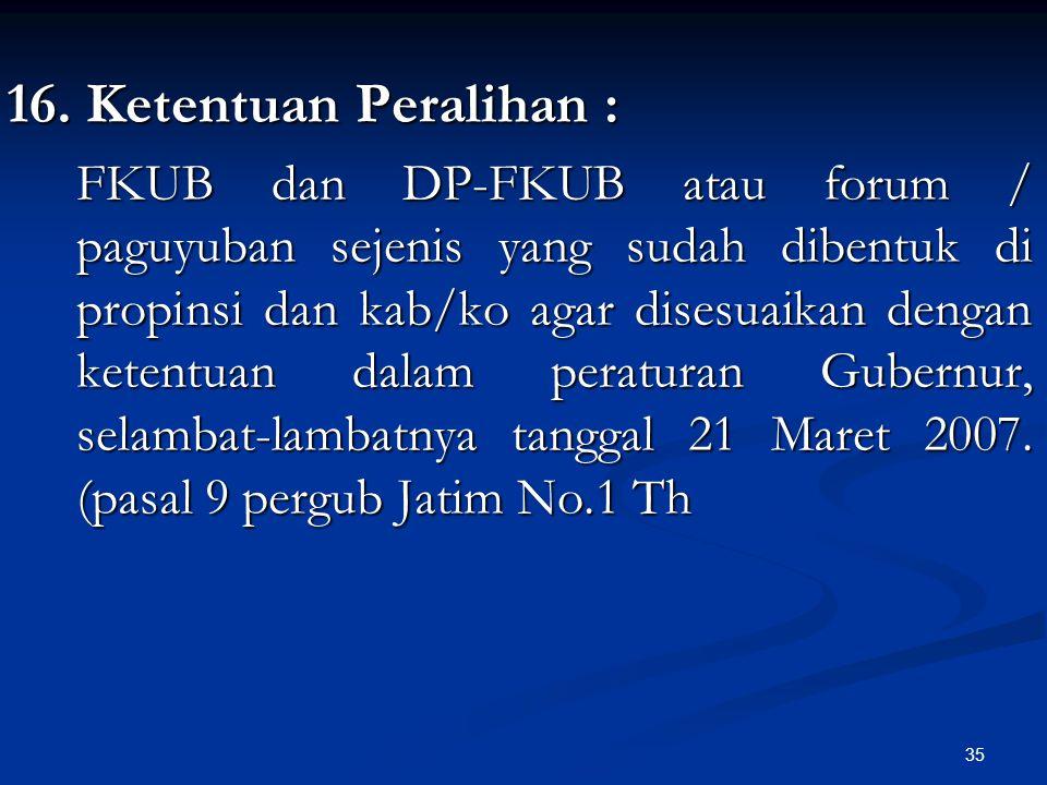 35 16. Ketentuan Peralihan : FKUB dan DP-FKUB atau forum / paguyuban sejenis yang sudah dibentuk di propinsi dan kab/ko agar disesuaikan dengan ketent