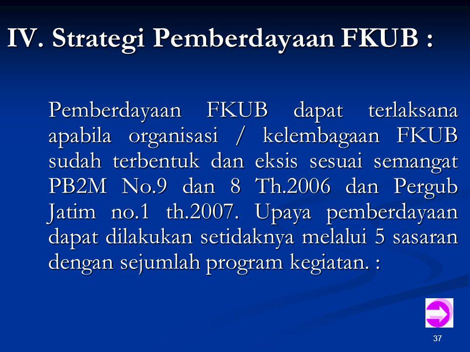 37 IV. Strategi Pemberdayaan FKUB : Pemberdayaan FKUB dapat terlaksana apabila organisasi / kelembagaan FKUB sudah terbentuk dan eksis sesuai semangat