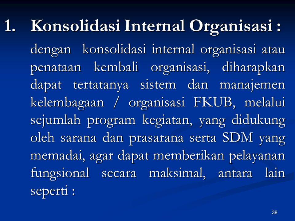 38 1.Konsolidasi Internal Organisasi : dengan konsolidasi internal organisasi atau penataan kembali organisasi, diharapkan dapat tertatanya sistem dan