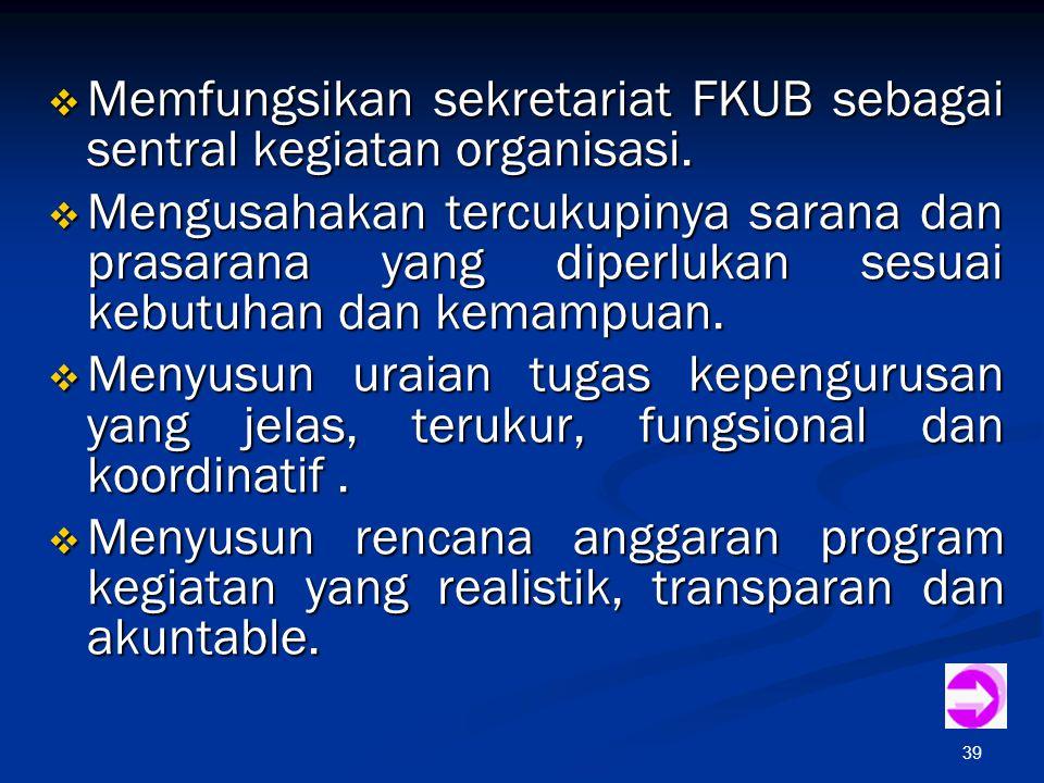39  Memfungsikan sekretariat FKUB sebagai sentral kegiatan organisasi.  Mengusahakan tercukupinya sarana dan prasarana yang diperlukan sesuai kebutu