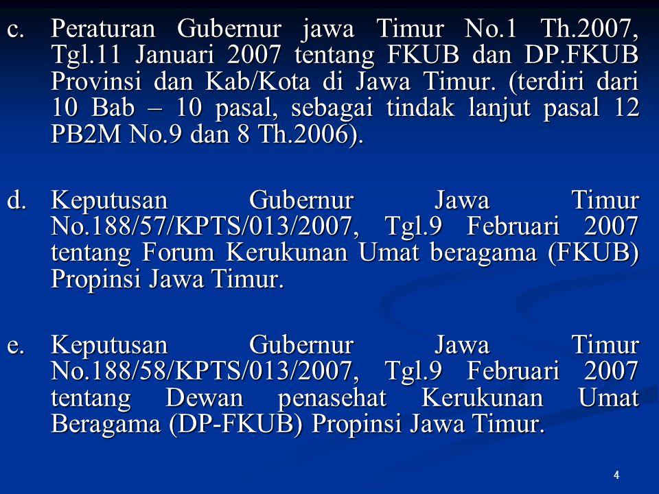 4 c.Peraturan Gubernur jawa Timur No.1 Th.2007, Tgl.11 Januari 2007 tentang FKUB dan DP.FKUB Provinsi dan Kab/Kota di Jawa Timur. (terdiri dari 10 Bab