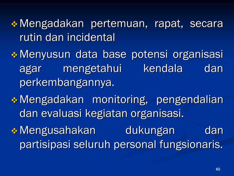 40  Mengadakan pertemuan, rapat, secara rutin dan incidental  Menyusun data base potensi organisasi agar mengetahui kendala dan perkembangannya.  M