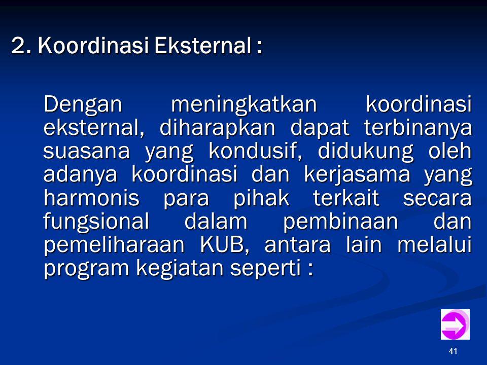 41 2. Koordinasi Eksternal : Dengan meningkatkan koordinasi eksternal, diharapkan dapat terbinanya suasana yang kondusif, didukung oleh adanya koordin