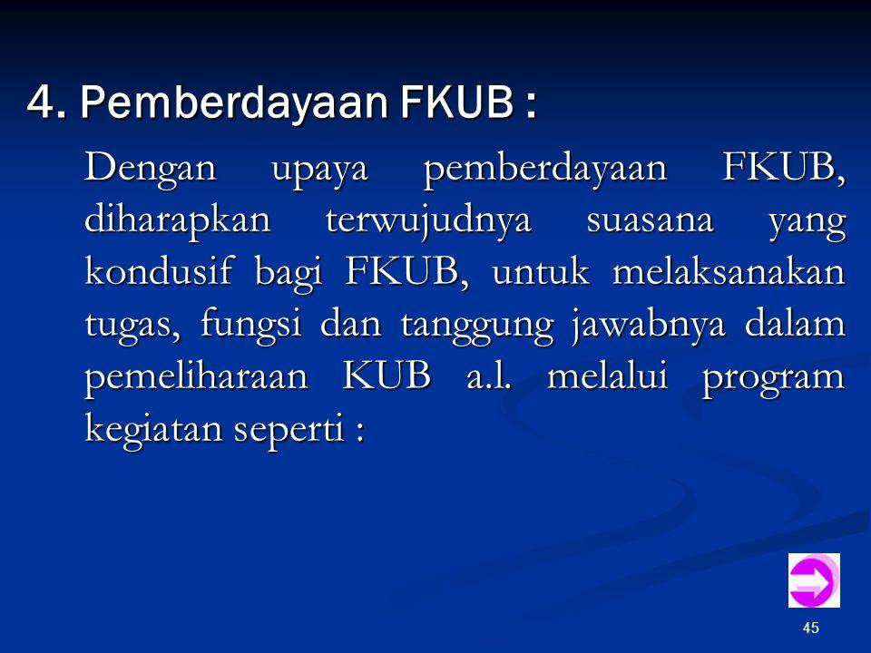 45 4. Pemberdayaan FKUB : Dengan upaya pemberdayaan FKUB, diharapkan terwujudnya suasana yang kondusif bagi FKUB, untuk melaksanakan tugas, fungsi dan