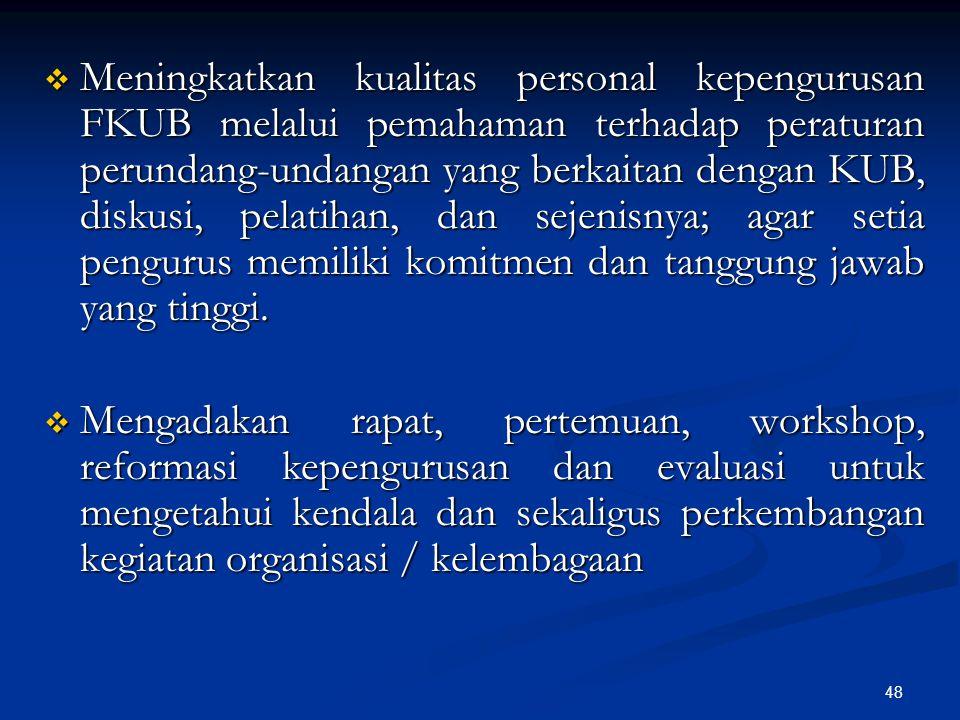 48  Meningkatkan kualitas personal kepengurusan FKUB melalui pemahaman terhadap peraturan perundang-undangan yang berkaitan dengan KUB, diskusi, pela