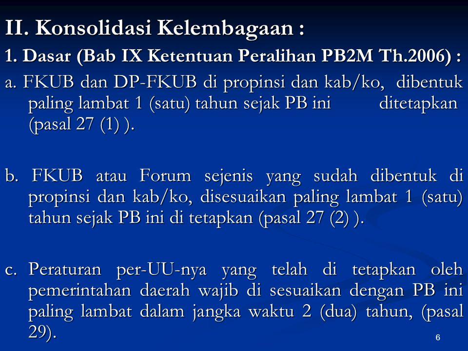 6 II. Konsolidasi Kelembagaan : 1. Dasar (Bab IX Ketentuan Peralihan PB2M Th.2006) : a. FKUB dan DP-FKUB di propinsi dan kab/ko, dibentuk paling lamba