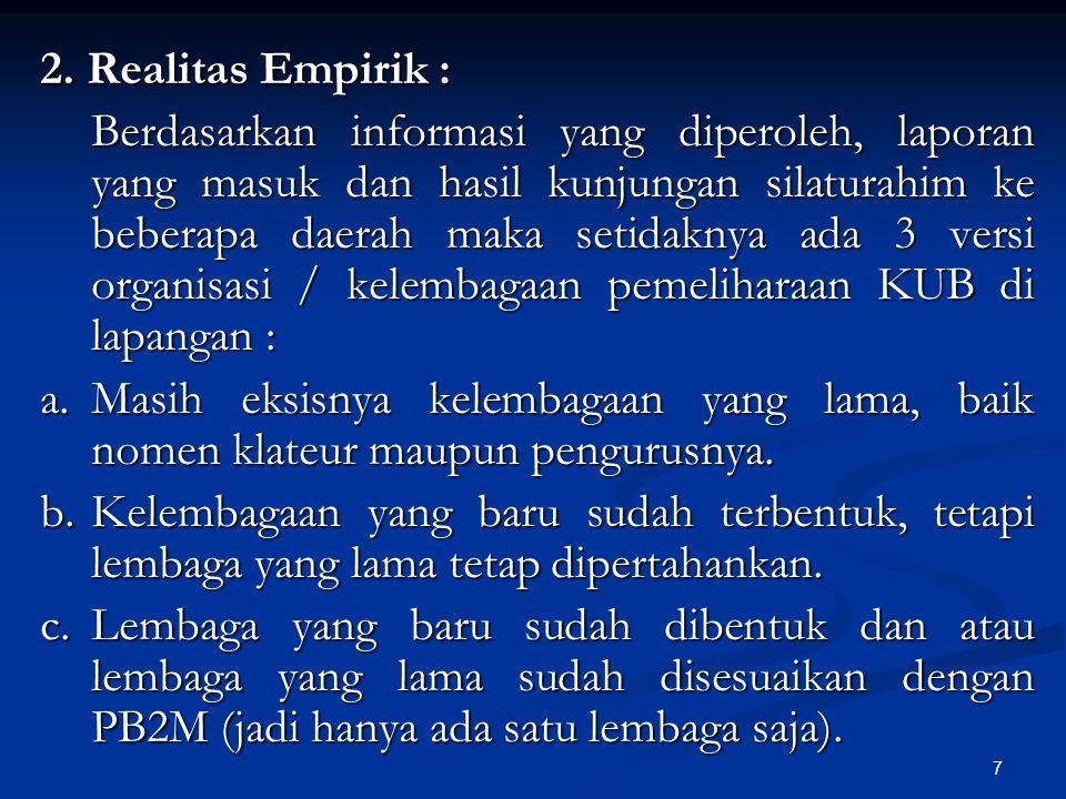 7 2. Realitas Empirik : Berdasarkan informasi yang diperoleh, laporan yang masuk dan hasil kunjungan silaturahim ke beberapa daerah maka setidaknya ad