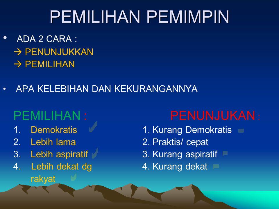 PEMILIHAN PEMIMPIN ADA 2 CARA :  PENUNJUKKAN  PEMILIHAN APA KELEBIHAN DAN KEKURANGANNYA PEMILIHAN :PENUNJUKAN : 1.Demokratis1. Kurang Demokratis 2.L