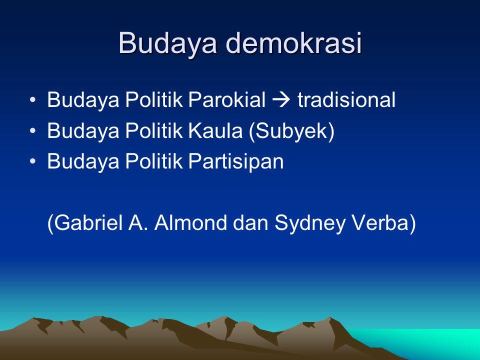 Budaya demokrasi Budaya Politik Parokial  tradisional Budaya Politik Kaula (Subyek) Budaya Politik Partisipan (Gabriel A. Almond dan Sydney Verba)