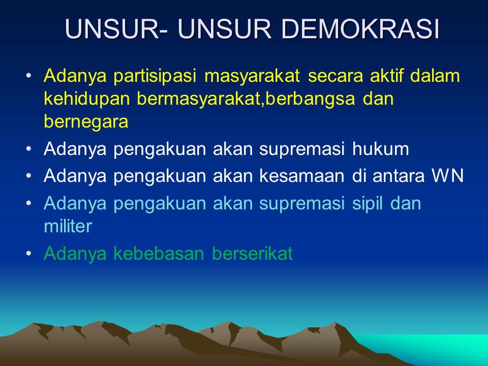 UNSUR- UNSUR DEMOKRASI Adanya partisipasi masyarakat secara aktif dalam kehidupan bermasyarakat,berbangsa dan bernegara Adanya pengakuan akan supremas