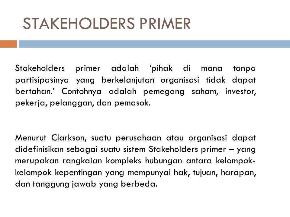 STAKEHOLDERS SEKUNDER Stakeholders sekunder didefinisikan sebagai 'pihak yang mempengaruhi atau dipengaruhi oleh perusahaan, tapi mereka tidak terlibat dalam transaksi dengan perusahaan dan tidak begitu penting untuk kelangsungan hidup perusahaan.' Contohnya adalah media dan berbagai kelompok kepentingan tertentu.