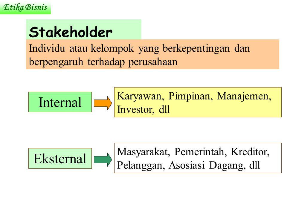 Stakeholder Individu atau kelompok yang berkepentingan dan berpengaruh terhadap perusahaan Internal Eksternal Karyawan, Pimpinan, Manajemen, Investor, dll Masyarakat, Pemerintah, Kreditor, Pelanggan, Asosiasi Dagang, dll Etika Bisnis