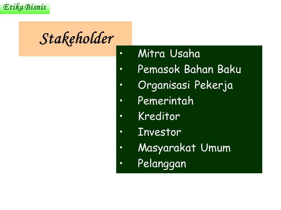 Stakeholder Mitra Usaha Pemasok Bahan Baku Organisasi Pekerja Pemerintah Kreditor Investor Masyarakat Umum Pelanggan