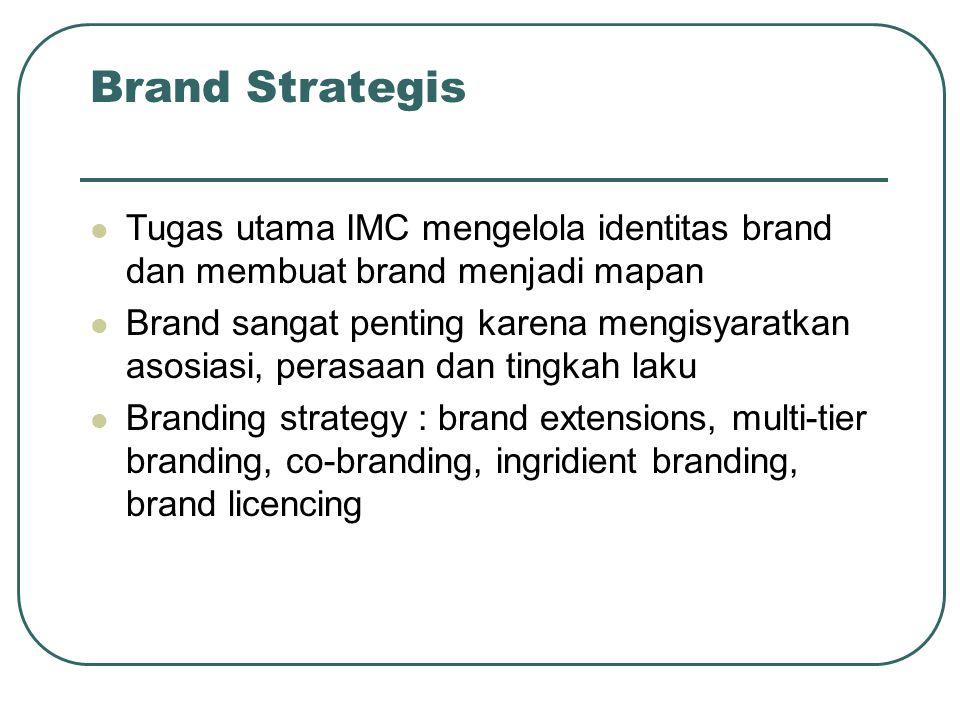 Brand Strategis Tugas utama IMC mengelola identitas brand dan membuat brand menjadi mapan Brand sangat penting karena mengisyaratkan asosiasi, perasaa