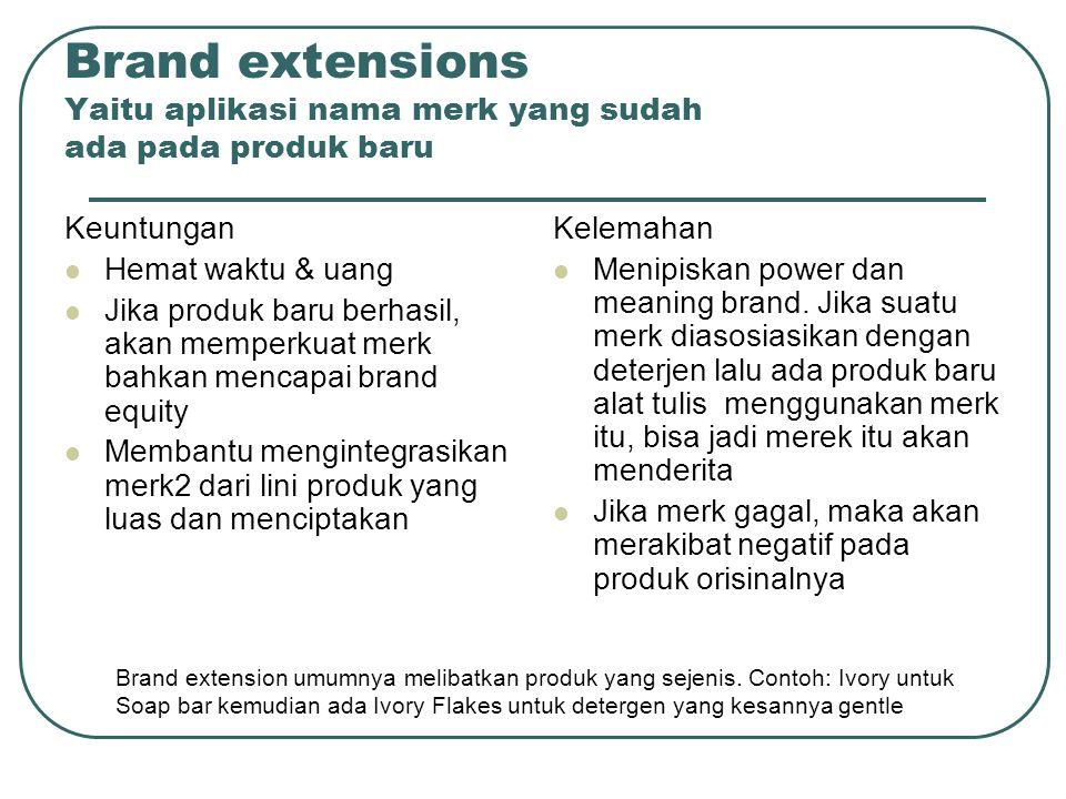 Brand extensions Yaitu aplikasi nama merk yang sudah ada pada produk baru Keuntungan Hemat waktu & uang Jika produk baru berhasil, akan memperkuat mer
