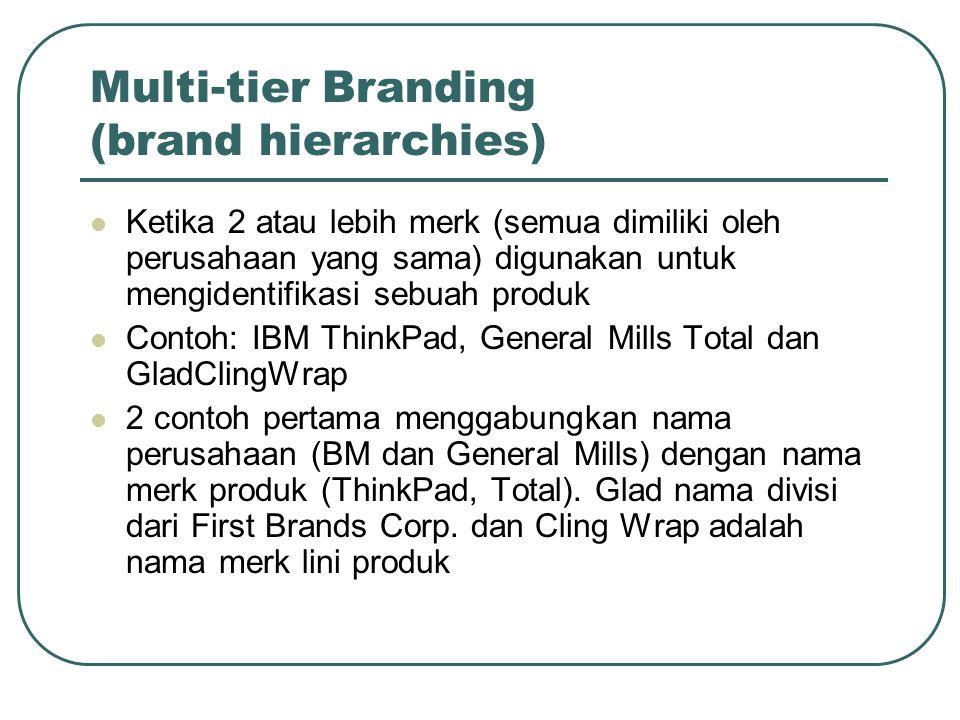 Multi-tier Branding (brand hierarchies) Ketika 2 atau lebih merk (semua dimiliki oleh perusahaan yang sama) digunakan untuk mengidentifikasi sebuah pr