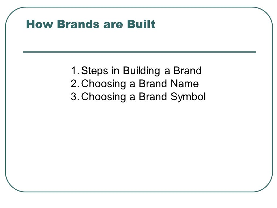 How Brands are Built 1.Steps in Building a Brand 2.Choosing a Brand Name 3.Choosing a Brand Symbol