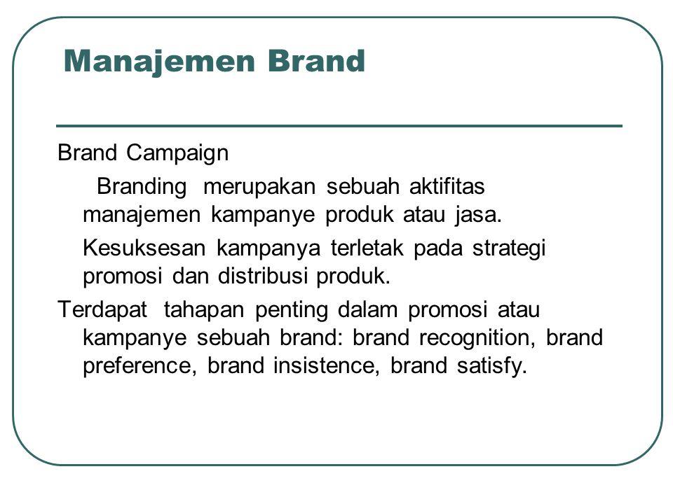 Manajemen Brand Brand Campaign Branding merupakan sebuah aktifitas manajemen kampanye produk atau jasa. Kesuksesan kampanya terletak pada strategi pro
