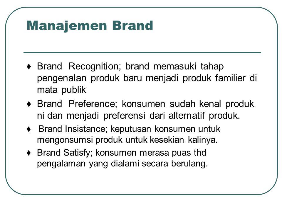 ♦ Brand Recognition; brand memasuki tahap pengenalan produk baru menjadi produk familier di mata publik ♦ Brand Preference; konsumen sudah kenal produ