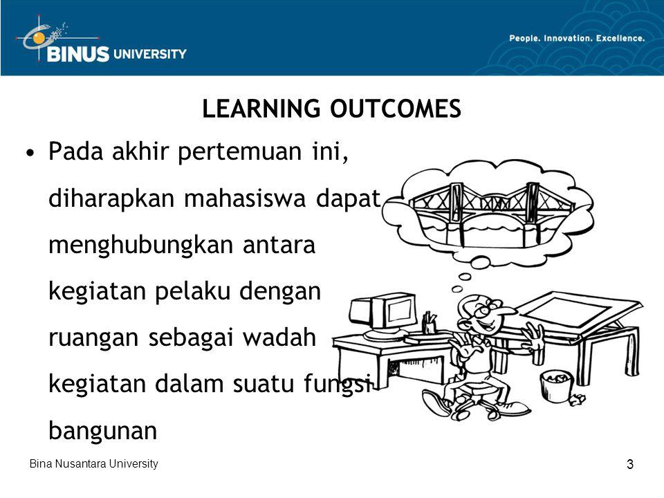 LEARNING OUTCOMES Pada akhir pertemuan ini, diharapkan mahasiswa dapat menghubungkan antara kegiatan pelaku dengan ruangan sebagai wadah kegiatan dalam suatu fungsi bangunan Bina Nusantara University 3