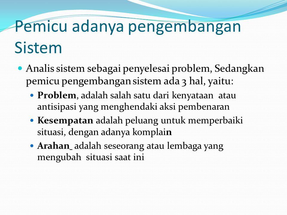 Pemicu adanya pengembangan Sistem Analis sistem sebagai penyelesai problem, Sedangkan pemicu pengembangan sistem ada 3 hal, yaitu: Problem, adalah salah satu dari kenyataan atau antisipasi yang menghendaki aksi pembenaran Kesempatan adalah peluang untuk memperbaiki situasi, dengan adanya komplain Arahan adalah seseorang atau lembaga yang mengubah situasi saat ini