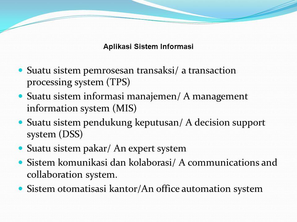 Suatu sistem pemrosesan transaksi/ a transaction processing system (TPS) adalah suatu sistem informasi yang menangkap/mengumpulkan data dan memproses data mengenai transaksi bisnis.