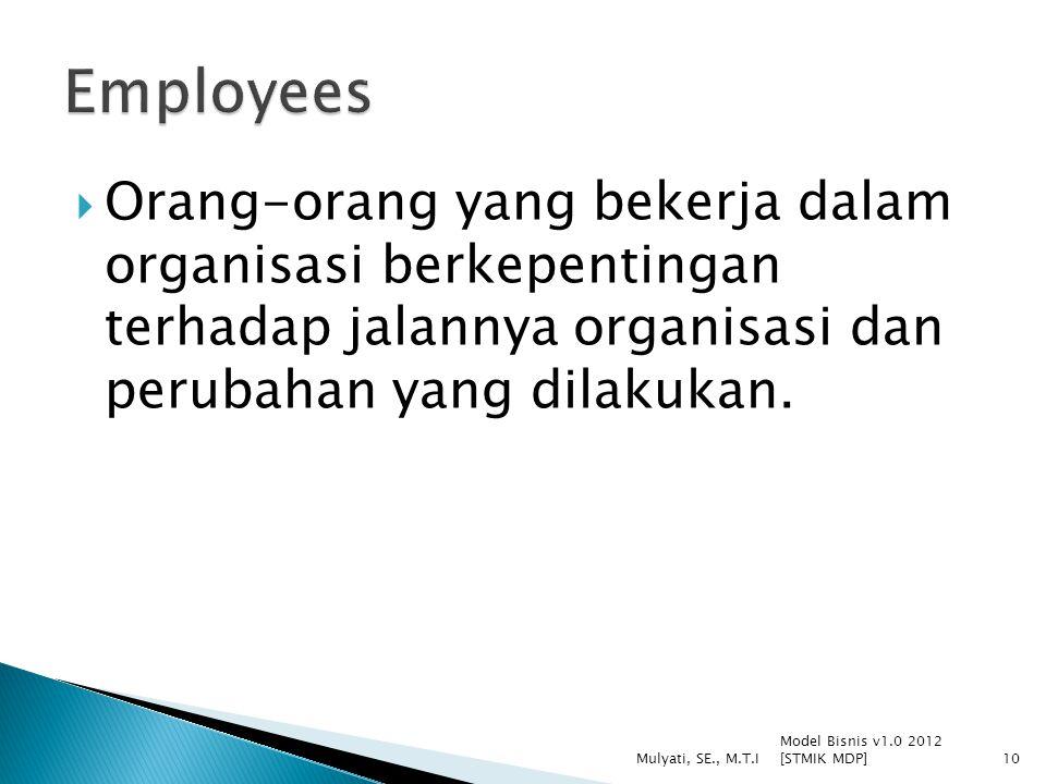  Orang-orang yang bekerja dalam organisasi berkepentingan terhadap jalannya organisasi dan perubahan yang dilakukan.